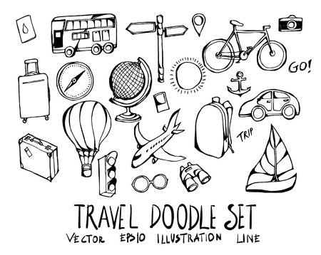 Set of travel doodle illustration Hand drawn Sketch line vector