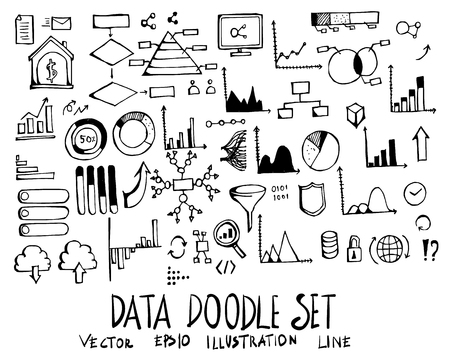 Set of data doodle illustration Hand drawn Sketch line vector