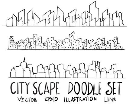 Set of City illustration Hand drawn doodle Sketch line vector