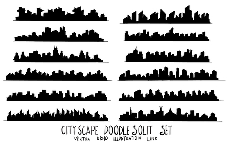 Set of City Solid illustration Hand drawn doodle Sketch line vector