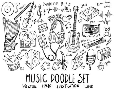 Set of Music illustration Hand drawn doodle Sketch line vector