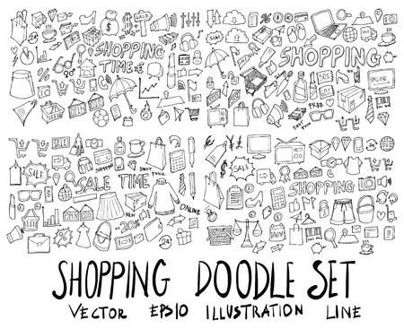 Big set of shopping illustration.