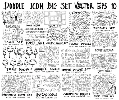 MEGA set of doodles vector. Super collection of christmas, ribbon, frame, heart, school, font, arrow, summer, tree, business, sport, party, info, shopping, bubble, music, home