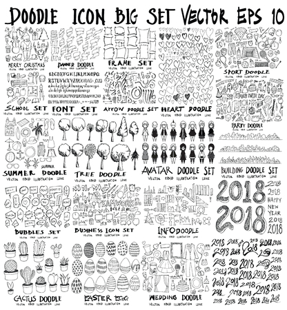 MEGA set of doodles vector. Super collection of christmas, ribbon, frame, heart, school, font, arrow, summer, tree, business, sport, party, info, shopping, bubble, city scape, avatar, cactus, easter, wedding, happy new year 2018 Illustration