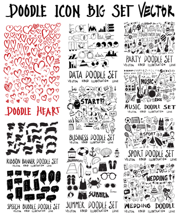 MEGA set of doodles vector. Collection of heart, ribbon, speech, info, business, summer travel, party, music, sport, wedding