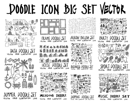 MEGA set of doodles vector. Collection of Data, Frame, Arrow, Party, Summer, House, Wedding, Business, Shopping, Sport, Music Illustration