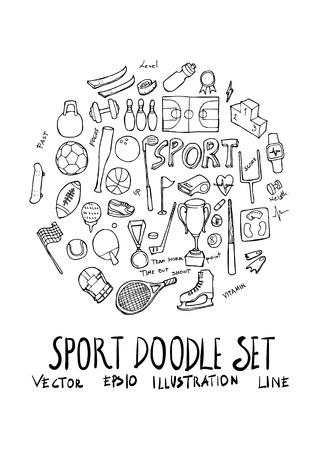 Sport fit doodle illustration circle form line sketch style Illustration