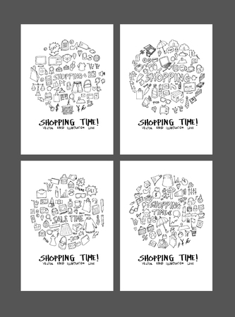Shopping doodle illustration circle form on a4 paper wallpaper background line sketch style set