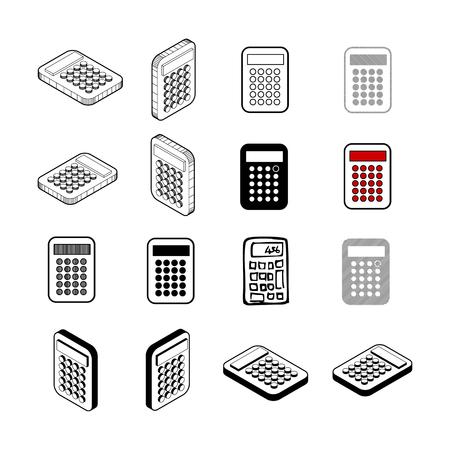 Calculator icon set on white background Illustration