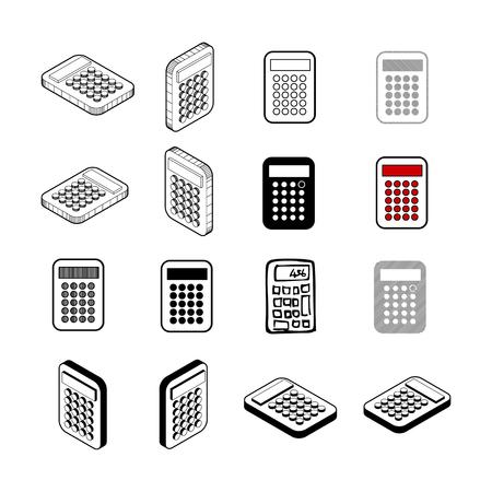 Calculator icon set on white background Vettoriali