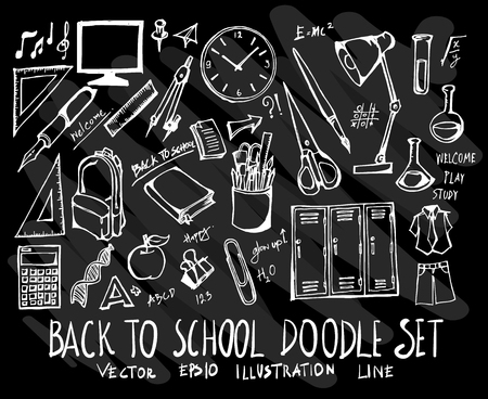 Collection of back to school doodles on black background.