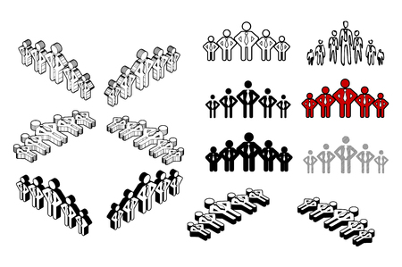 Group of people icon set on white background  イラスト・ベクター素材