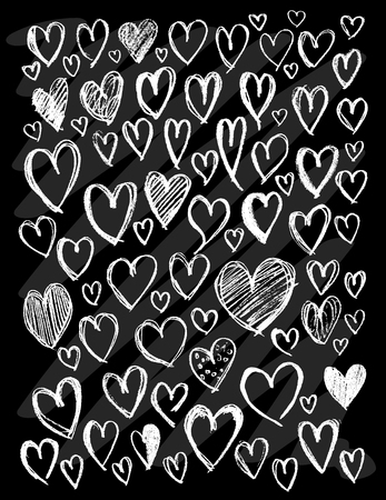 Set of vector doodle drawing Collection Heart white line on black background