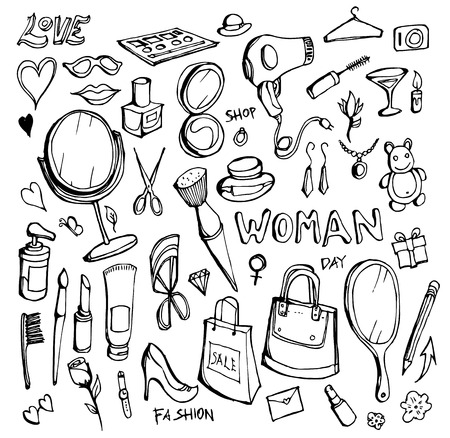 Hand drawn Sketch doodle vector line Women element icon set on white