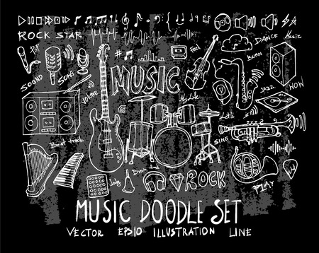 Hand drawn Sketch doodle vector line Music element icon set on Chalkboard