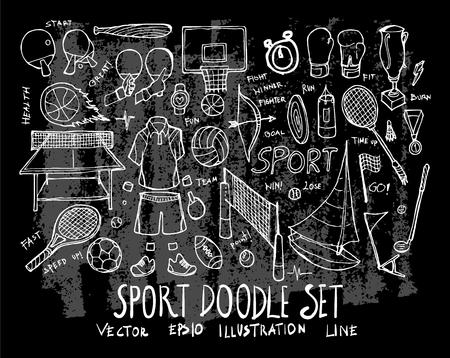 Hand drawn Sketch doodle vector line Sport element icon set on Chalkboard