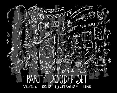 Hand drawn Sketch doodle vector line Party element icon set on Chalkboard