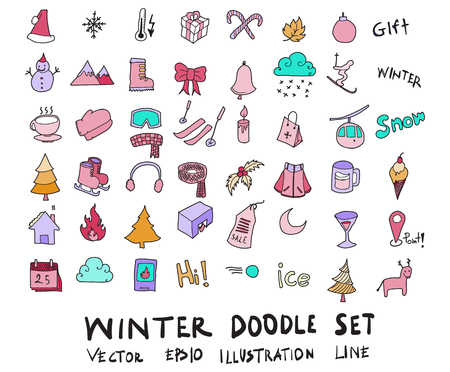 Hand drawn Sketch doodle vector line color icons collection of Winter element icon set on white background