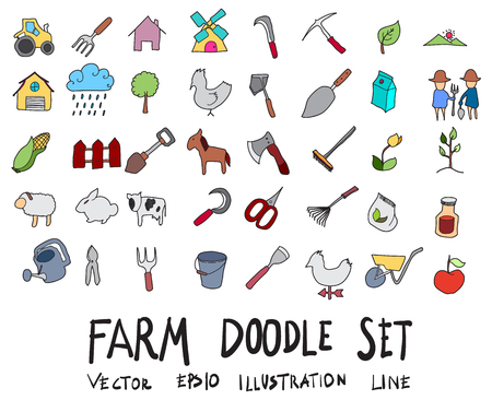 Hand drawn Sketch doodle vector line color icons collection of  Farm icon set on white background