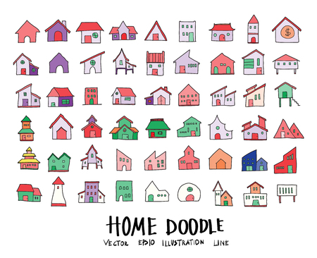 Hand drawn Sketch doodle vector line color icons collection of  Home icon set on white background  イラスト・ベクター素材