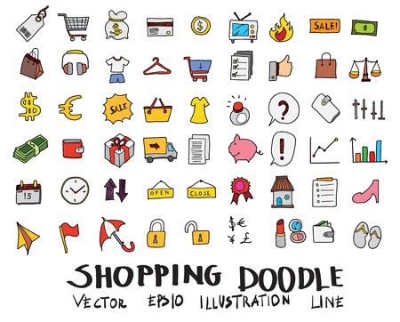 Hand drawn Sketch doodle vector line color icons collection of  Shopping icon set on white background Vectores