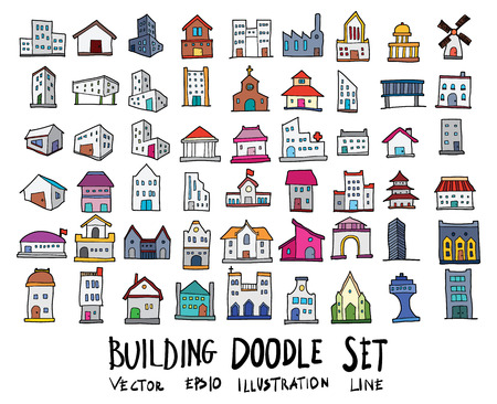 Hand drawn Sketch doodle vector line color icons collection of  Building icon set on white background