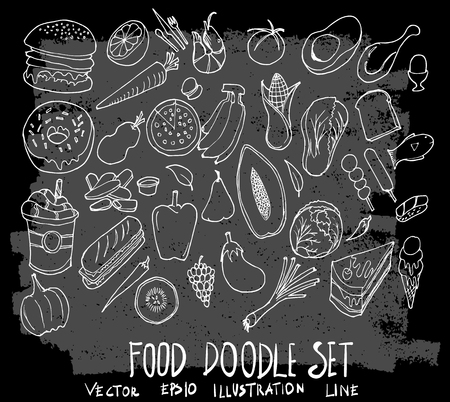 Hand drawn Sketch doodle vector food element icon set on Chalkboard  イラスト・ベクター素材