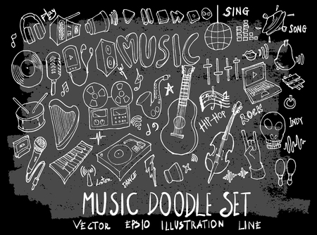 Hand drawn Sketch doodle vector music element icon set on Chalkboard