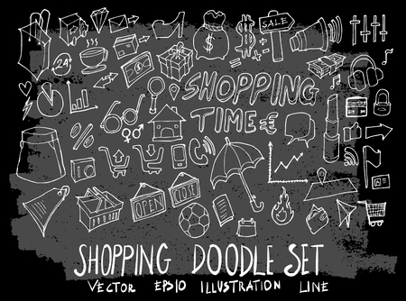 Hand drawn Sketch doodle vector shopping element icon set on Chalkboard