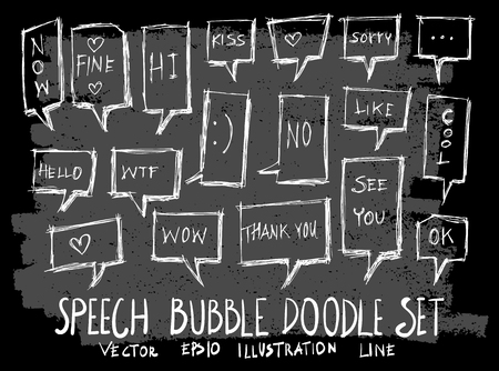 Hand drawn Sketch doodle vector speech bubble element icon set on Chalkboard  イラスト・ベクター素材