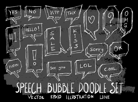 Hand drawn Sketch doodle vector speech bubble element icon set on Chalkboard Illustration