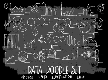 Hand drawn Sketch doodle vector data element icon set on Chalkboard
