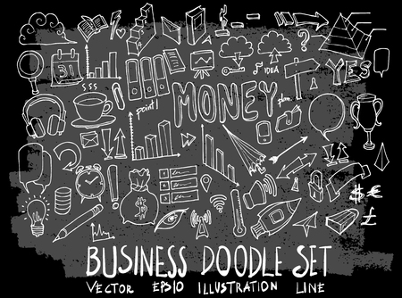 Hand drawn Sketch doodle vector business element icon set on Chalkboard