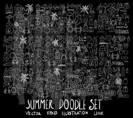 Hand drawn Sketch doodle vector summer element icon set on Chalkboard  イラスト・ベクター素材