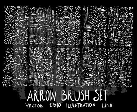 Hand drawn Sketch doodle vector arrow set on Chalkboard