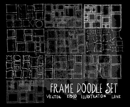 Hand drawn Sketch doodle vector Frame set on Chalkboard