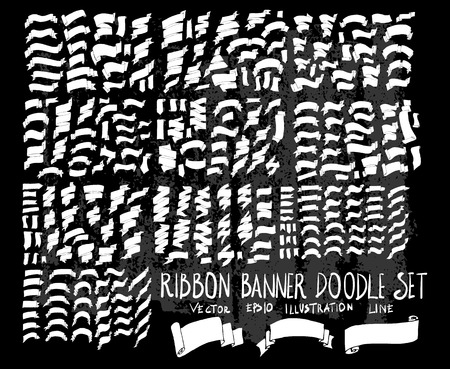 Hand drawn Sketch doodle vector Ribbon set on Chalkboard