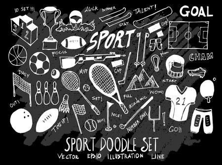 Hand drawn Sketch doodle vector Sport set on Chalkboard