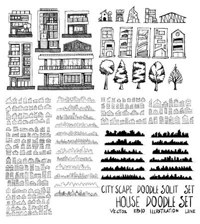 Set of vector House doodle drawing icon Collection on white background