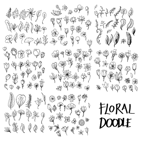 Set of vector Floral doodle drawing icon Collection on white background  イラスト・ベクター素材
