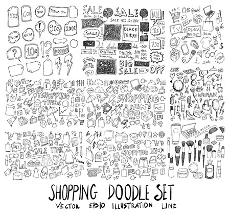 Set of vector Shopping doodle drawing icon Collection on white background  イラスト・ベクター素材