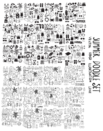 Set of vector Summer doodle drawing icon Collection on white background