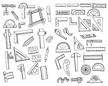 Set of Ruler Drawing illustration Hand drawn doodle Sketch line vector  イラスト・ベクター素材
