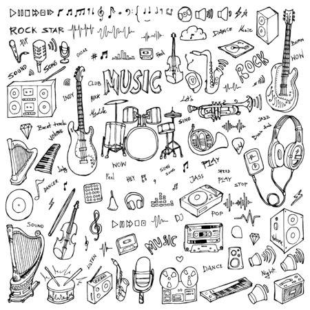 Set di illustrazione di disegno musicale Doodle disegnato a mano Linea di schizzo vettoriale Vettoriali
