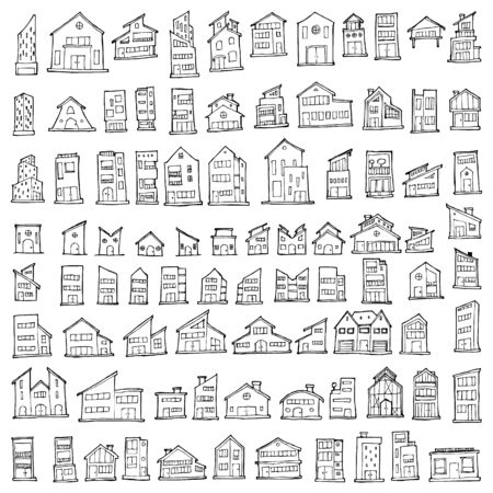 Set of House Drawing illustration Hand drawn doodle Sketch line vector Illustration