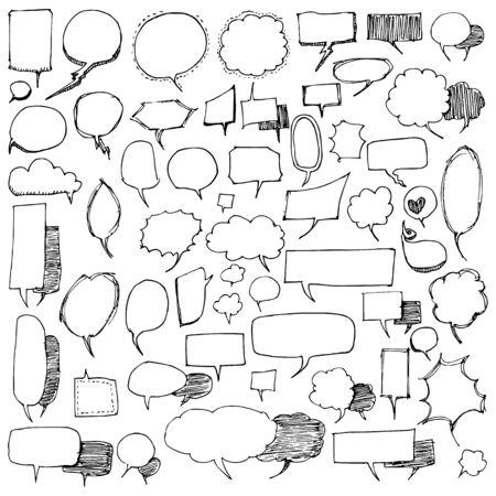 Ensemble d'illustration de dessin de bulle dessinés à la main doodle vecteur de ligne de croquis