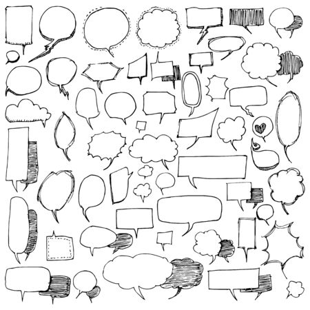 Set of Bubble Drawing illustration Hand drawn doodle Sketch line vector
