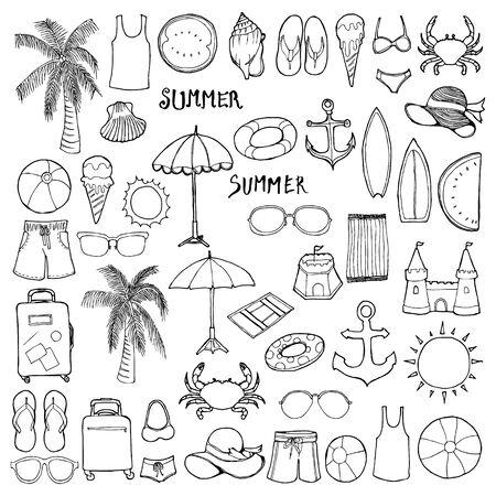 Set of Summer Drawing illustration Hand drawn doodle Sketch line vector Ilustracje wektorowe