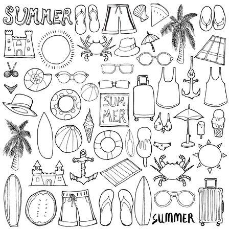 Set of Summer Drawing illustration Hand drawn doodle Sketch line vector