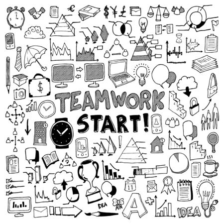 Business doodle set. Drawing vector illustration hand drawn